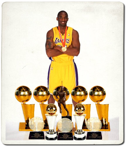 Kobe Bryant's Trophy case is impressive.